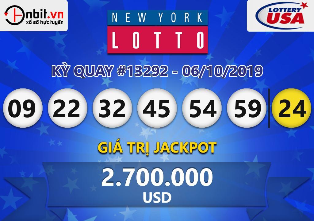 Cập nhật kết quả xổ số New York Lotto ngày 06/10/2019