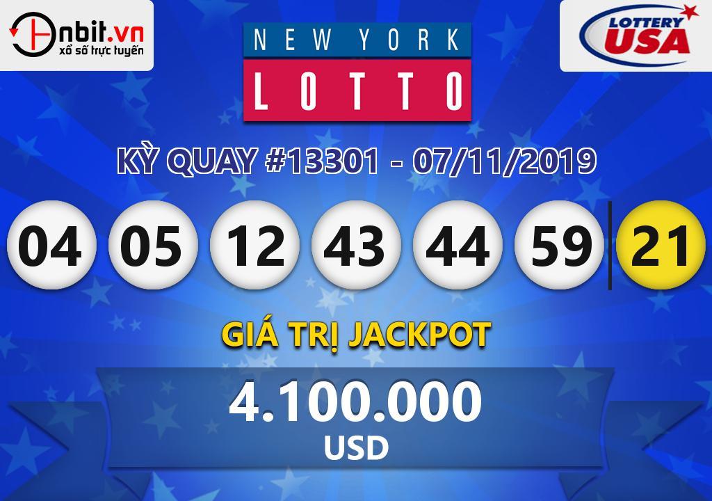 Cập nhật kết quả xổ số New York Lotto ngày 07/11/2019