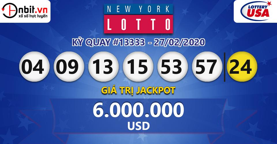 Cập nhật kết quả xổ số New York Lotto ngày 27/02/2020