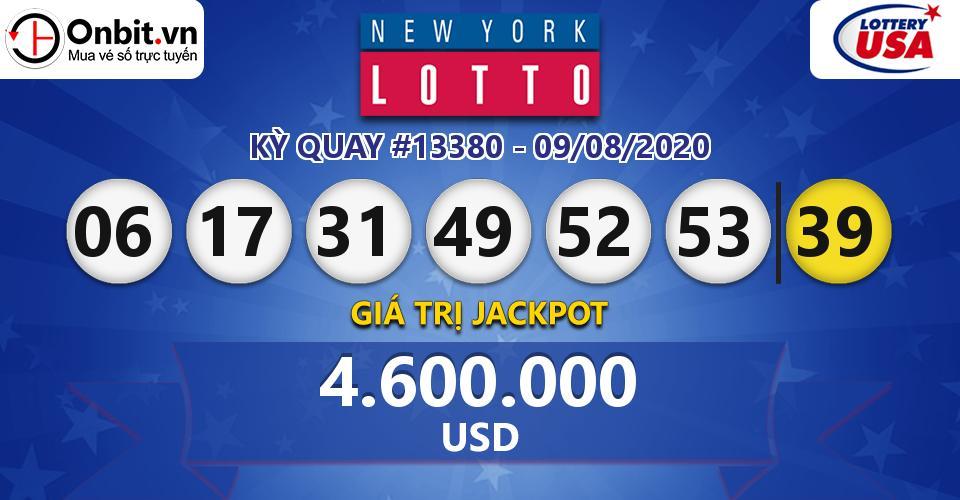 Cập nhật kết quả xổ số Mỹ New York Lotto hôm nay ngày 09/08/2020