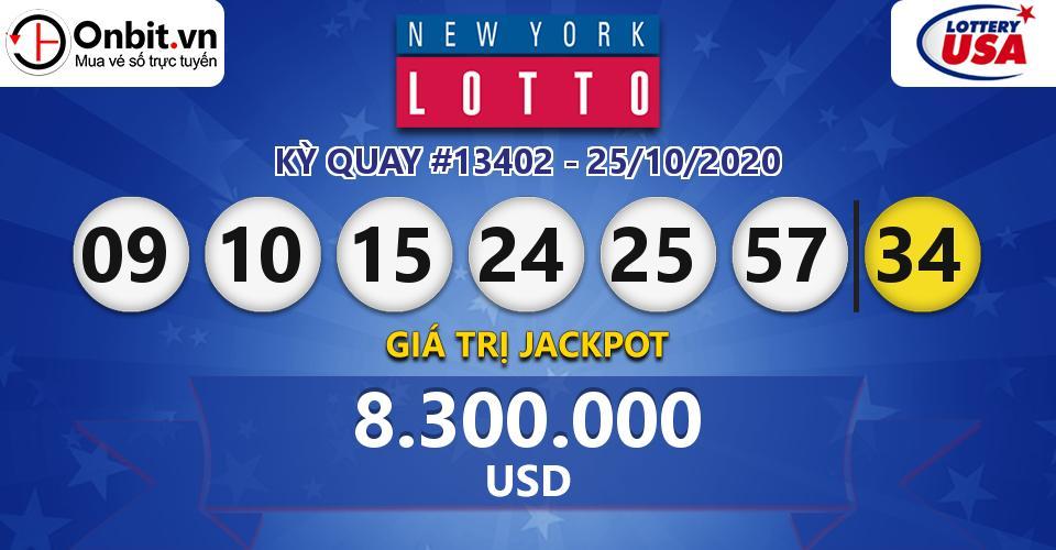Cập nhật kết quả xổ số Mỹ New York Lotto hôm nay ngày 25/10/2020