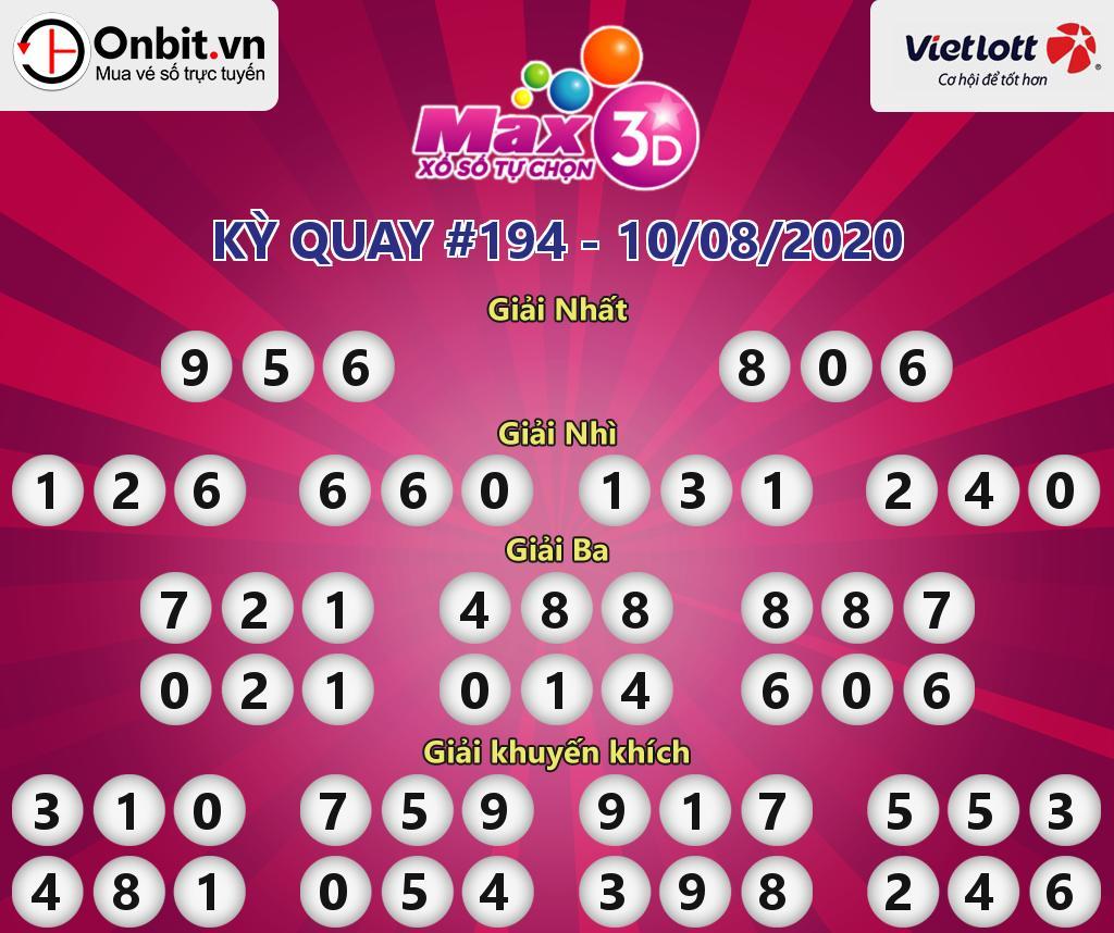 Cập nhật kết quả xổ số Vietlott Max 3D hôm nay ngày 10/08/2020
